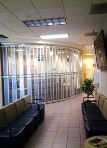 Side folding security doors on office