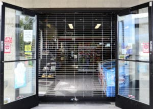 security grille in market shop