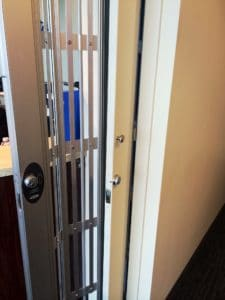 pocket door frame security door