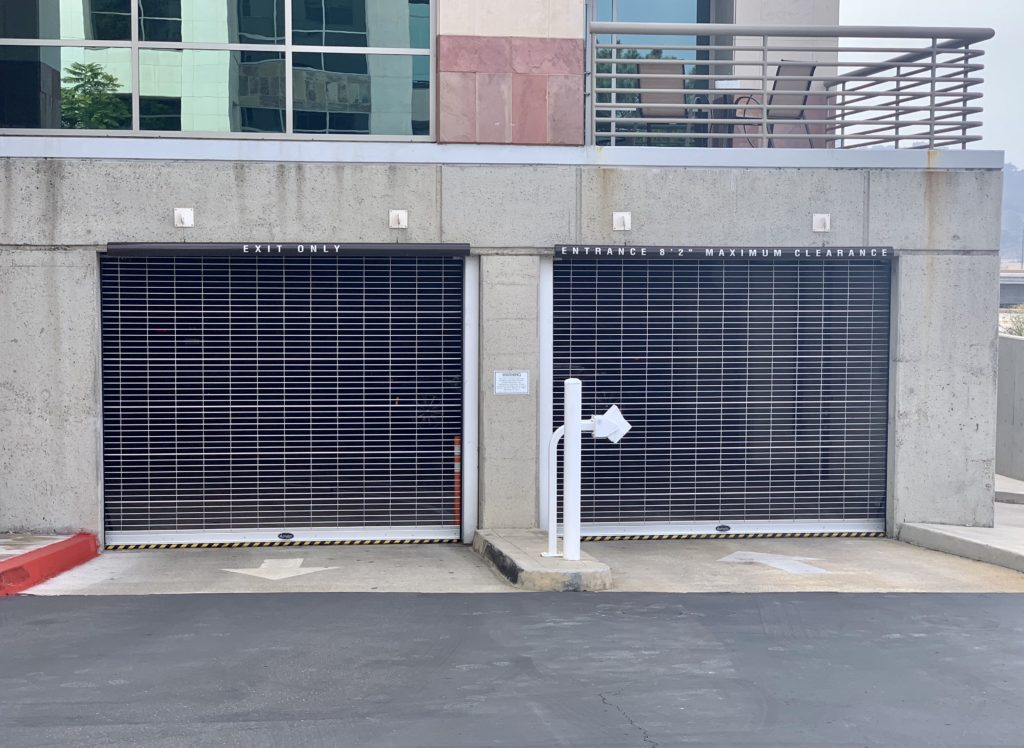 Parking garage security grille