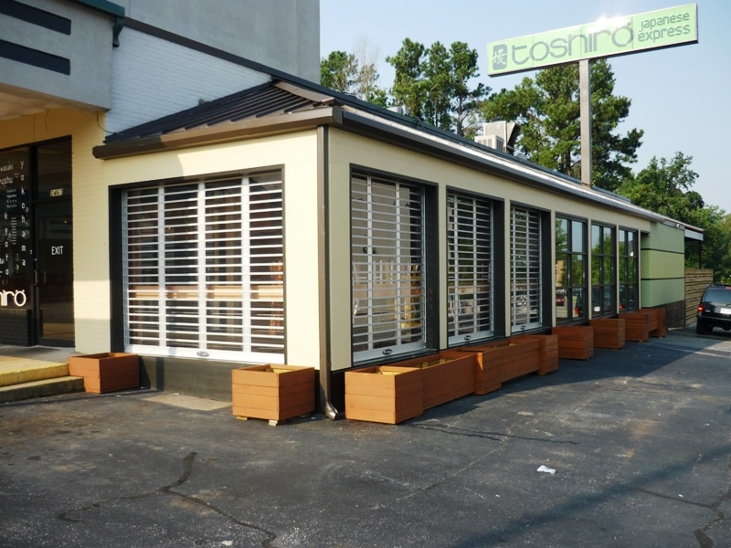 LXR exterior security gate on restaurant front