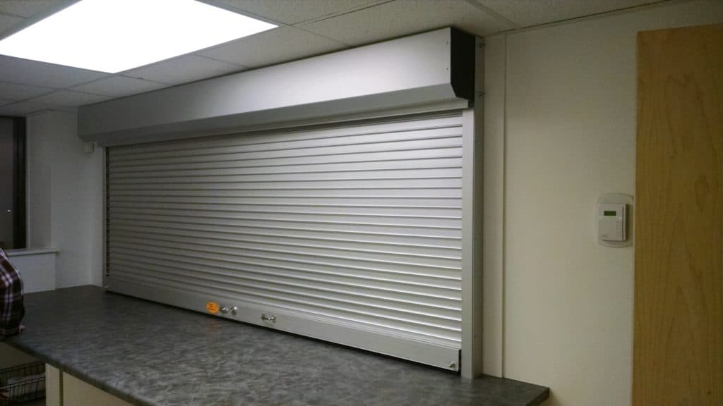 solid security shutter in counter service window