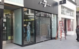Security grille in retail space